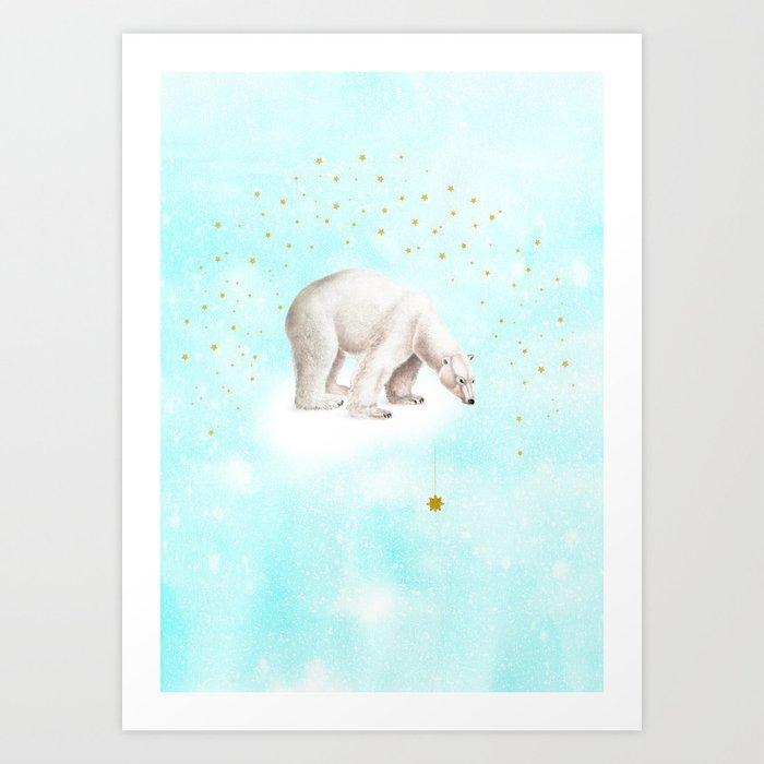 Wish upon a star polar bear Art Print