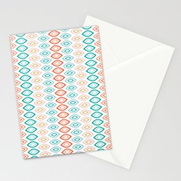 Mid Century Modern Geometric Shapes in Muted Colors Orange Coral, Pink, Blue, Teal, and Gold Stationery Cards