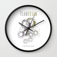 tesla Wall Clocks featuring Team Tesla by Sarah McMahon