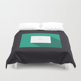 """Dice """"one"""" with long shadow in new modern flat design Duvet Cover"""