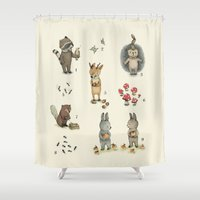 numbers Shower Curtains featuring Numbers, Animals and numbers. by Paola Zakimi