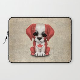 Cute Puppy Dog with flag of Canada Laptop Sleeve