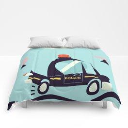 Cartoon Police Car Comforters