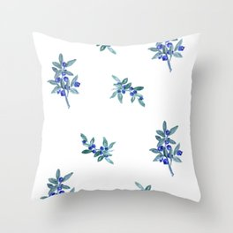 Blue Watercolor Berries Throw Pillow