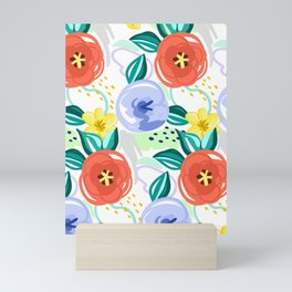 Flowers red pattern Mini Art Print