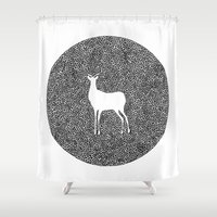 alisa burke Shower Curtains featuring Deer Mandala 2 black-white by Anna Grunduls