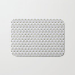 Faux White Leather Buttoned Bath Mat