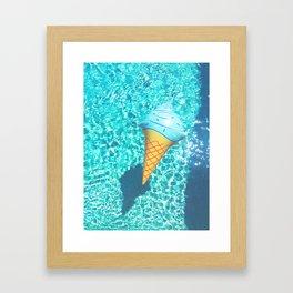 blue ice cream cone float all up in my pool yo Framed Art Print