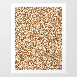 Tiny Spots - White and Brown Art Print