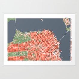 San Francisco city map classic Art Print