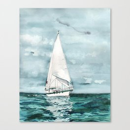 Sailboat painting on turquoise waters stormy skies Canvas Print
