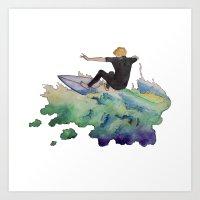 surfer Art Prints featuring Surfer by Kyra Kalageorgi