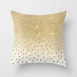 Black white polka dots gold glitter ombre Throw Pillow