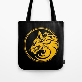 Yellow and Black Growling Wolf Disc Tote Bag