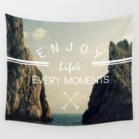 surfboard Wall Tapestries featuring enjoy life every momens by mark ashkenazi