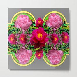 MODERN ART PINK PEONIES GREY ABSTRACT GARDEN Metal Print