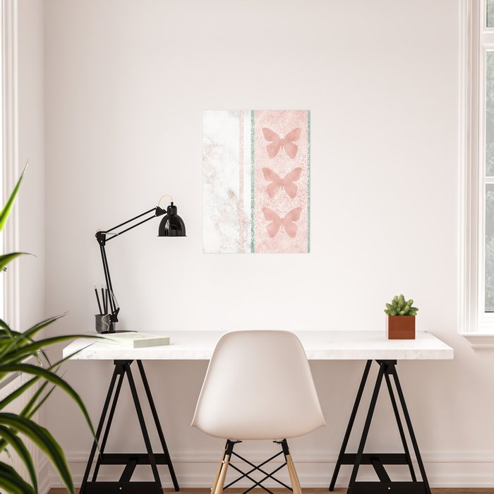 Snow White Peach Butterfly Abstract Pattern Poster