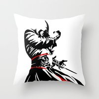assassins creed Throw Pillows featuring Assassins Creed  by iankingart