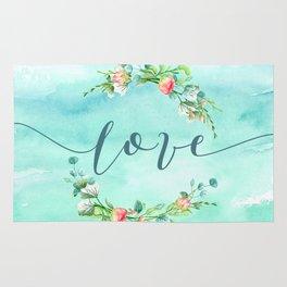 Love--Modern Typography Watercolors Flowers Wreath Rug