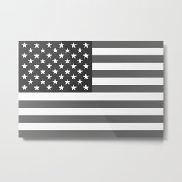 US national flag in Black and White Metal Print