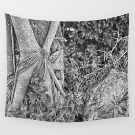 Strangler fig and boulder in the rain forest Wall Tapestry