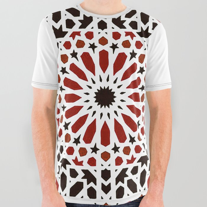 Red_Oriental_Geometric_Moroccan_Traditional_Alhambra_Artwork_All_Over_Graphic_Tee_by_AcARTERESTING_Bazaar__Large