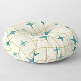 Mid Century Modern Cosmic Star Pattern 693 Cream Turquoise Olive Floor Pillow