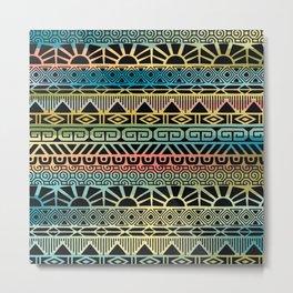 Aztec Teal Metal Print