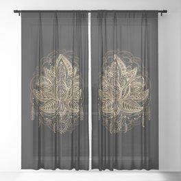 Lotus Black & Gold Sheer Curtain