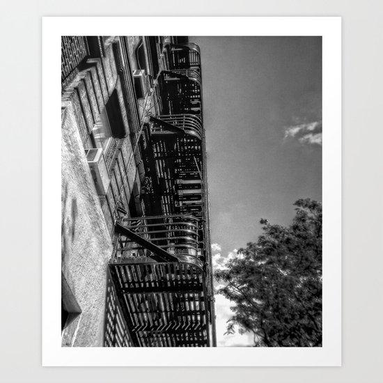 fire escape - building in manhattan, nyc Art Print