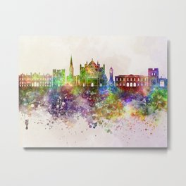 Exeter skyline in watercolor background Metal Print