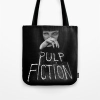 pulp fiction Tote Bags featuring Pulp Fiction by Demetria Rose
