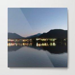 Watercolor Nightscape, Estes Park 04, Colorado, Twilight Reflections Metal Print