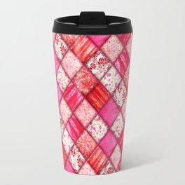 Faux Patchwork Quilting - Pink and Red Travel Mug