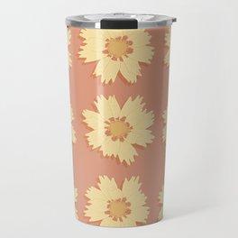 Yellow and Orange Tickseed Flower Pattern Travel Mug