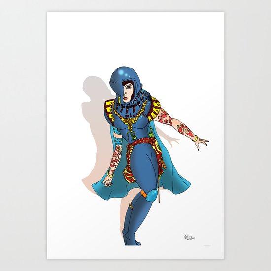 Blue Science Fiction Warrior Art Print