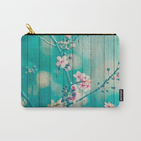 Sweet Flowers on Wood 01 Carry-All Pouch