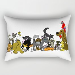 Cats And Dogs And Birds And Mice Rectangular Pillow