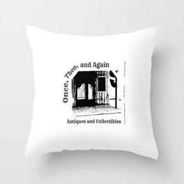 Once, Then, and Again Antiques and Collectables Throw Pillow