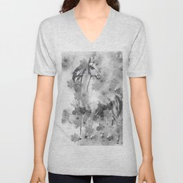HORSE AND CHERRY BLOSSOMS IN BLACK AND WHITE Unisex V-Neck