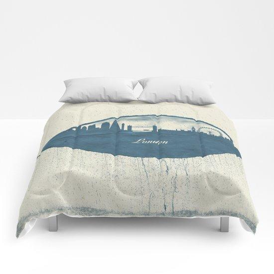 Rainy Day in London Comforters