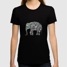 Sparkly colourful silver mosaic Elephant Black X-LARGE Womens Fitted Tee