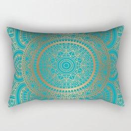 Burnt Gold Teal Mandala Rectangular Pillow