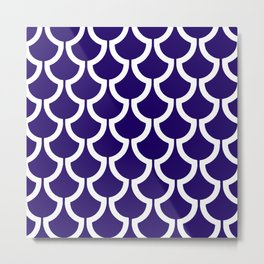 MODERN SCALES GEOMETRIC | navy white Metal Print