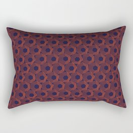 Hexagonal Abstract Pattern (Orange Red // Russian Violet) Rectangular Pillow