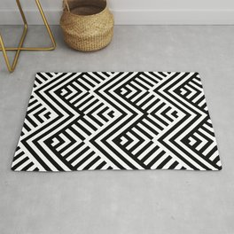Op art pattern with striped black and white zigzags Rug
