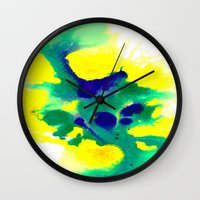 brazil Wall Clocks featuring WATERCOLOR BRAZIL by Chrisb Marquez