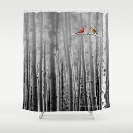 Red Cardinals in Birch Forest A128 Shower Curtain