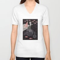yetiland V-neck T-shirts featuring Five Hundred Million Little Bells (3) by Judith Clay