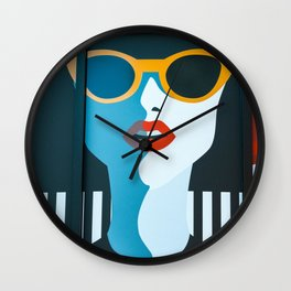 Girl with sunglasses Wall Clock